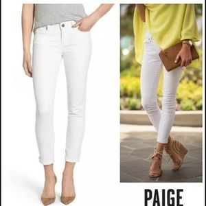 PAIGE White Kyle Crop Skinny Jeans